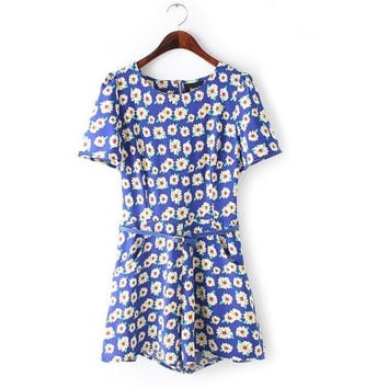 Summer Print Short Sleeve Dress Slim Shorts Waistband Jumpsuit [4918010692]