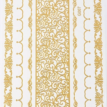 Gold Metallic Temporary Tattoos, Small Sheet - Embroidery, Geometric Bands, Ropes & Chains or Leaves & Chains