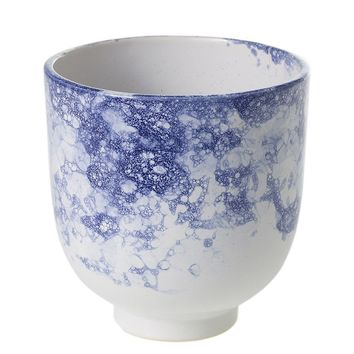 "White & Blue Marbled Ceramic Flower Vase - 5.25"" Tall x 5"" Wide"