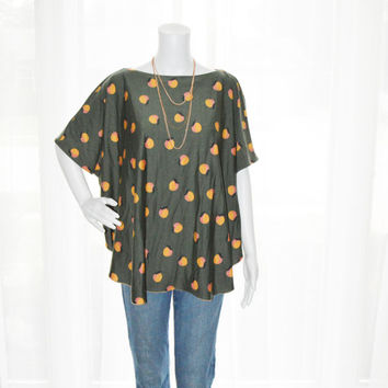 Womens Peach Oversized Shirt / Womens loose shirt / Tunic Top / Piko Tee Stlye / Relaxed Tee / Nursing Top