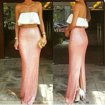 Pink Sequin Mermaid Maxi
