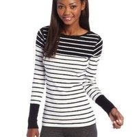 Calvin Klein Performance Women's Boatneck Stripe Tee, Milk/Black, X-Large