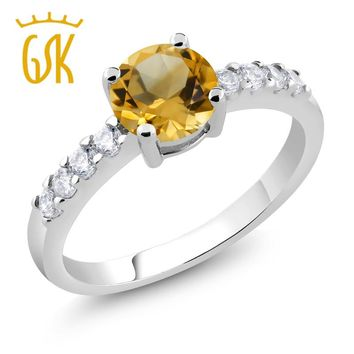2017 Classic rings for women 1.54 Ct Round Yellow Citrine Rhodium Plated jewelry Ring for women be suitable wedding birthday etc
