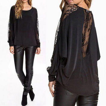 Hollow Lace Patchwork Long Batwing Sleeve Blouse