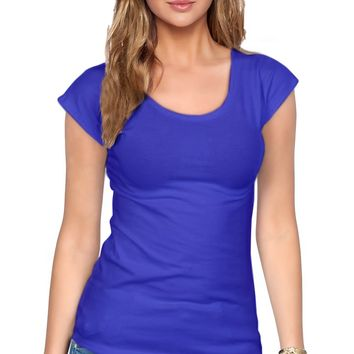 Women's Everyday Basic Cotton Short Sleeve Scoop Neck Tee Shirt