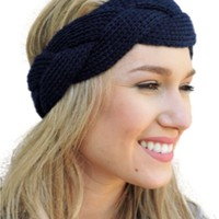 Braided Sweater Headband, Black