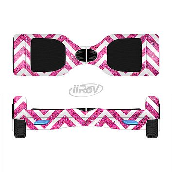 The Pink & White Sharp Glitter Print Chevron Full-Body Skin Set for the Smart Drifting SuperCharged iiRov HoverBoard