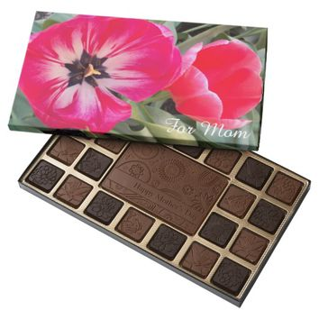 Big Red Tulips Photo Mother's Day 45 Piece Assorted Chocolate Box