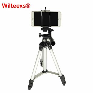 WILTEEXS Universal Digital Camera Tripod Stand Holder For iPhone Samsung smartphone Table/PC Phone Holder+Nylon Carry Bag SILVER