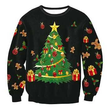 Round Collar Christmas Tree Printed Women Long Sleeved Sweatshirt 3207