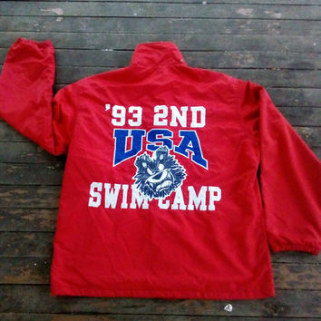 WCG Atlanta Swim Camp Usa windbreaker with signature  vintage