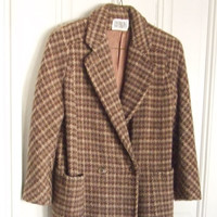 Bill Blass Overcoat Brown Wool Tweed Houndstooth