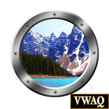 Lake View Snowy Mountain Green Trees 3D Porthole Wall Art Vinyl Decal Peel & Stick Easy to Apply Home Décor Wall Art SP21