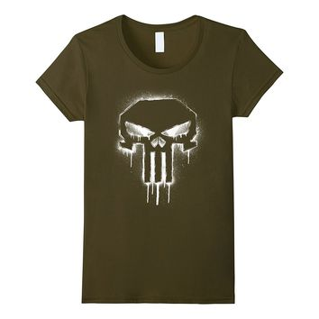 Marvel The Punisher Spray Painted Skull Drip Graphic T-Shirt