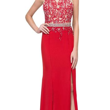 Appliqued Sheer Cut-Out Back Long Formal Dress Red