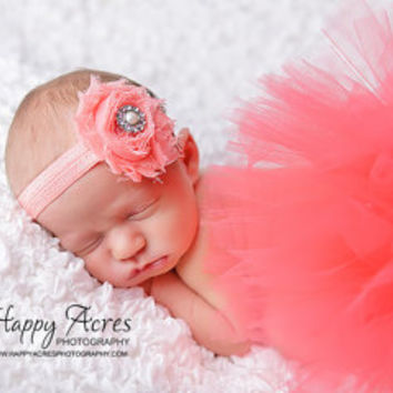 CORAL TUTU....newborn tutu, baby tutu with shabby headband, newborn photography prop.....size nb-24month available