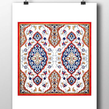 Floral Watercolor Art Print Turkish Tile Digital Print Mosque Wall Art Traditional Wall Decor Wall Hanging