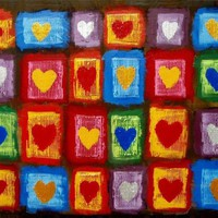 """View: painting abstract wall art """"Heart Anthology"""" impasto multi coloured silver gold heart romantic painting contemporary modern art abstraction expression acrylic 3 sizes available 24 x 18 """" 