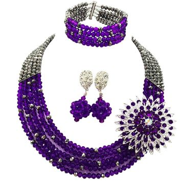 Fashion Silver Purple Nigerian Wedding Necklace Costume African Beads Jewelry Set Crystal 5L-ZJ036