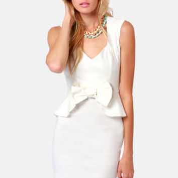 Pass the Pep-er Ivory Peplum Dress