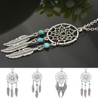 Silver Dream Catcher Pendant Necklace
