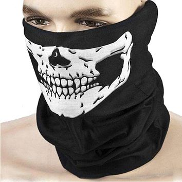 Outdoor Motorcycle Bicycle Ridding Masks Scarf Half Face Mask Cap Neck Ghost Skull For Party CS Halloween Decoration