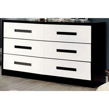 Perpetual Designed Wooden Dresser, White And Black By Casagear Home