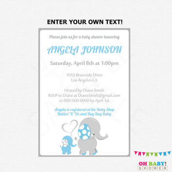 Elephant Baby Shower Invitation Boy, Blue and Gray, Editable Invitation, Instant Download, Baby Shower Printables, Elephant invites, ELLBG