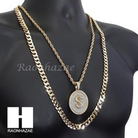 """ICED OUT DOLLA $IGN CHARM ROPE CHAIN DIAMOND CUT 30"""" CUBAN CHAIN NECKLACE SET G8"""