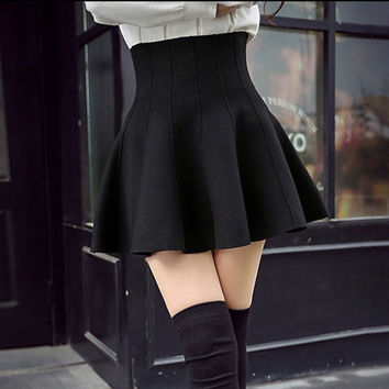 Spring autumn Casual Sexy Women Mini Skirt High Waisted Flared Pleated Jersey Plain Skater Short Knitted Elastic Skirt = 5738994753