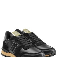 Valentino - Rockstud Leather and Suede Sneakers