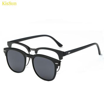 Rectangle Style Magnetic Clip on Sunglasses Male Magnetic Clip on Men Sunglasses Transparent Glass Frame Eyeglasses
