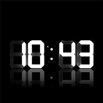 3D Digital Alarm Clock Wall Clock Warm Light with 12/24 Hrs Alarm Snooze Adjust 3 Brightness Level for Home Bedroom