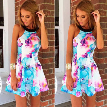 Dance Pretty Halter Neck Floral Printed Pleated Mini Dress