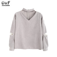 Dotfashion Ladies Elegant Tops Women's Tops and Blouses Blouses Shirt Cut Out Choker Neck Zipper Corduroy Blouse