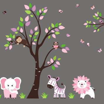 "Baby Girls Nursery Room Decal, Pink Girls Animal Wall Stickers, Girls Themed Nursery Decor, Nursery Wall Decals, Pink Colors - 83"" x 105"""
