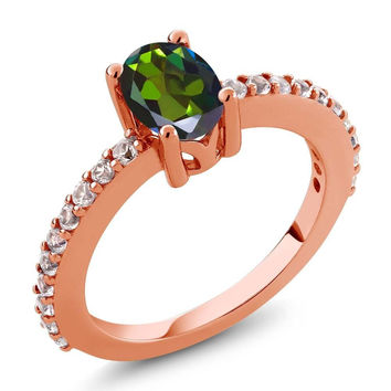 Green Mystic Topaz and White Created Sapphire 18K Rose Gold Plated Silver Ring