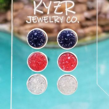 Druzy earring set- Watermelon/ White and Navy drusy stud set