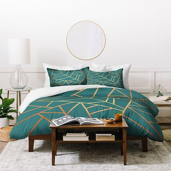 Elisabeth Fredriksson Copper and Teal Duvet Cover