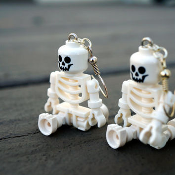 HALLOWEEN SKELETON Dangle Earrings - White Bones - Just in Time for Halloween - Spooky Gift to Wear to Parties, made from LEGO® minifigures