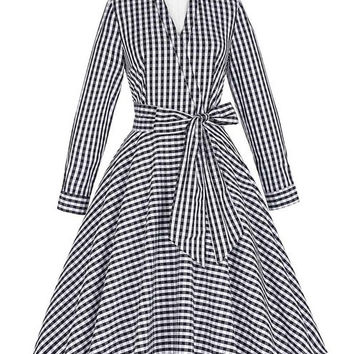 Autumn Winter Women Dress 2017 Vintage Long Sleeve Turn-Down Grid Pattern Cotton Office Dress 1950s Vintage Rockabilly Dress