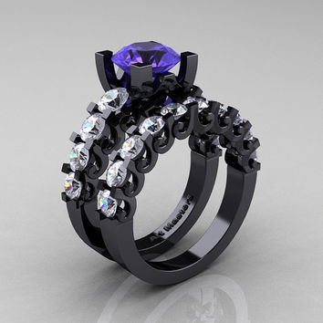 Modern Vintage 14K Black Gold 3.0 Ct Tanzanite White Sapphire Designer Wedding Ring Bridal Set R142S-14KBGWSTZ