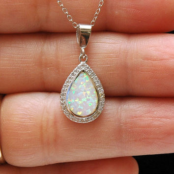 Pear Shape White Opal Necklace, CZ Silver Necklace, Lab Opal Pendant, Silver Opal Jewellery, October Birthstone, ayansiweddingdesings