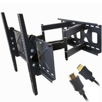"VideoSecu Tilt Swivel TV Wall Mount 32""- 65"" LCD LED Plasma TV Flat Screen with VESA 200x200,400x400,up to 600x400 mm, Full Motion Articulating Dual Arm Mount Fits up to 24"" Studs MW365B2 C20"