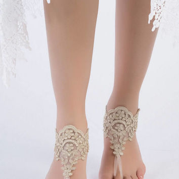 Bohemian wedding Gold Lace Sandles Beach wedding barefoot sandals, Lace wedding anklet  Footless, Bohemian bride wedding gift Bridal Gifts