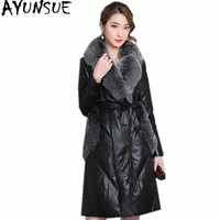 AYUNSUE Women's Leather Jacket Winter Warm Coat Female White Goose Down Jackets Faux Fox Fur Collar Coats Parkas Mujer WXF235