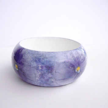 Flower wooden decoupage bangle with acrylic painting