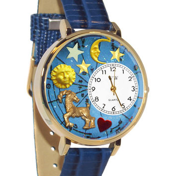 Capricorn Royal Blue Leather And Goldtone Watch