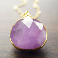 Lilac Amethyst Gold Necklace Limited Edition by friedasophie