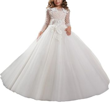 Abaowedding long sleeves holy first communion dresses for girls 3D flower pageant ball gowns for girls graduation gowns children